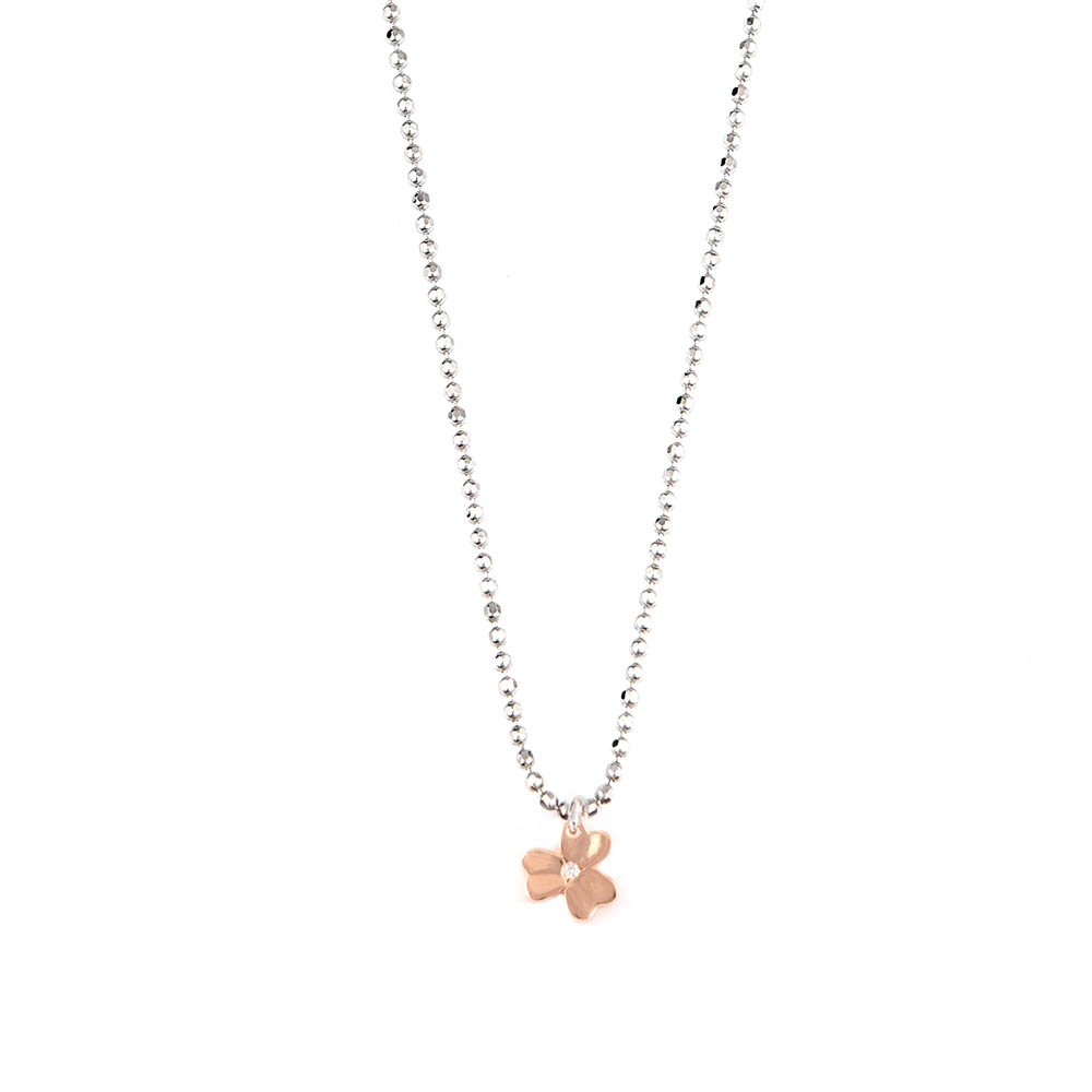 Collana Glamour Trifoglio Rose Gold Sparkling